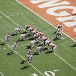 Nov 10, 2012; Austin, TX, USA; Texas Longhorns offense lines up in the wishbone formation in honor of former coach Darrell Royal against the Iowa State Cyclones in the first quarter at Darrell K Royal-Texas Memorial Stadium. Mandatory Credit: Brett Davis-US PRESSWIRE