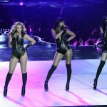 Feb 3, 2013; New Orleans, LA, USA; Beyonce (left), Kelly Rowland (center), and Michelle Williams (right) of Destinys Child perform during the halftime show in Super Bowl XLVII between the San Francisco 49ers and the Baltimore Ravens at the Mercedes-Benz Superdome. Mandatory Credit: Richard Mackson-USA TODAY Sports