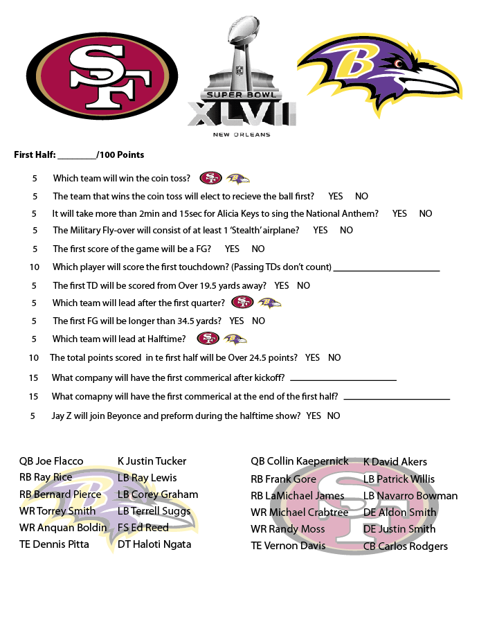 It is a picture of Trust Prop Bets Super Bowl 2020 Printable