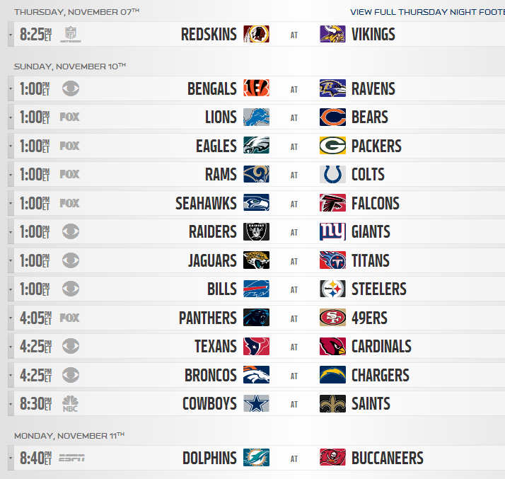 This is a graphic of Nfl Week 8 Printable Schedule with regard to game