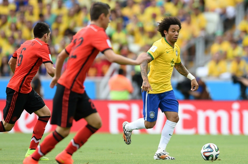 Brazil s marcelo flops in the box against mexico