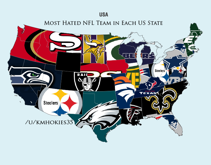 Reddit survey shows the most d NFL teams in the United ... on baseball japan map, 2014 mlb teams map, baseball new york, baseball map of america, mlb baseball teams on map, baseball road trip map,