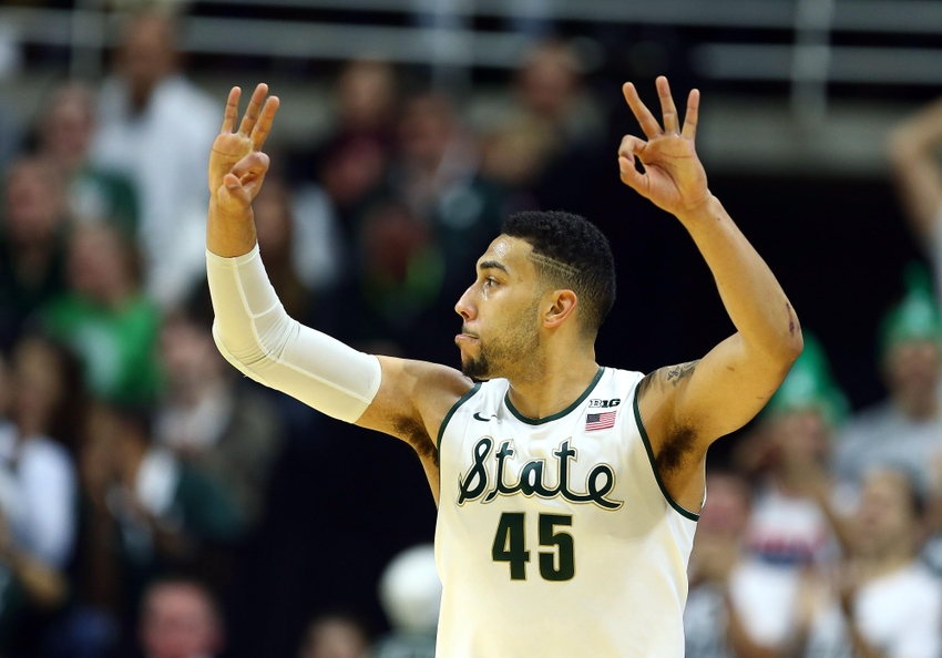 Dec 12, 2015; East Lansing, MI, USA; Michigan State Spartans guard Denzel Valentine (45) reacts to a play against the Florida State Seminoles during the 1st half of a game at Jack Breslin Student Events Center. Mandatory Credit: Mike Carter-USA TODAY Sports