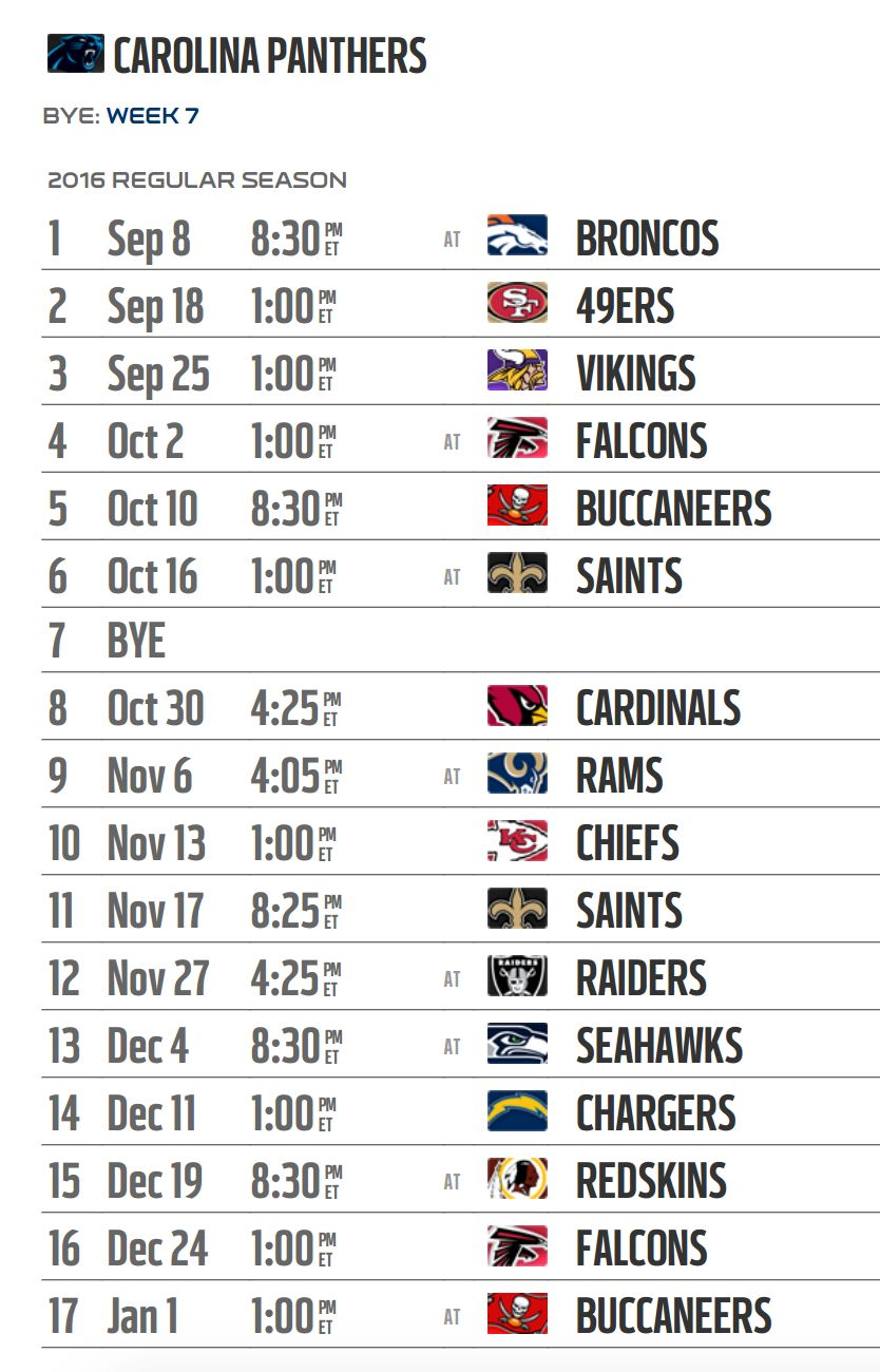Carolina Panthers' 2016 NFL schedule released
