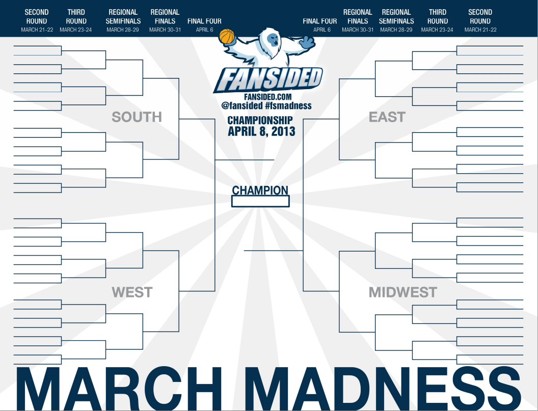 printable 2013 ncaa bracket  fill out your march madness
