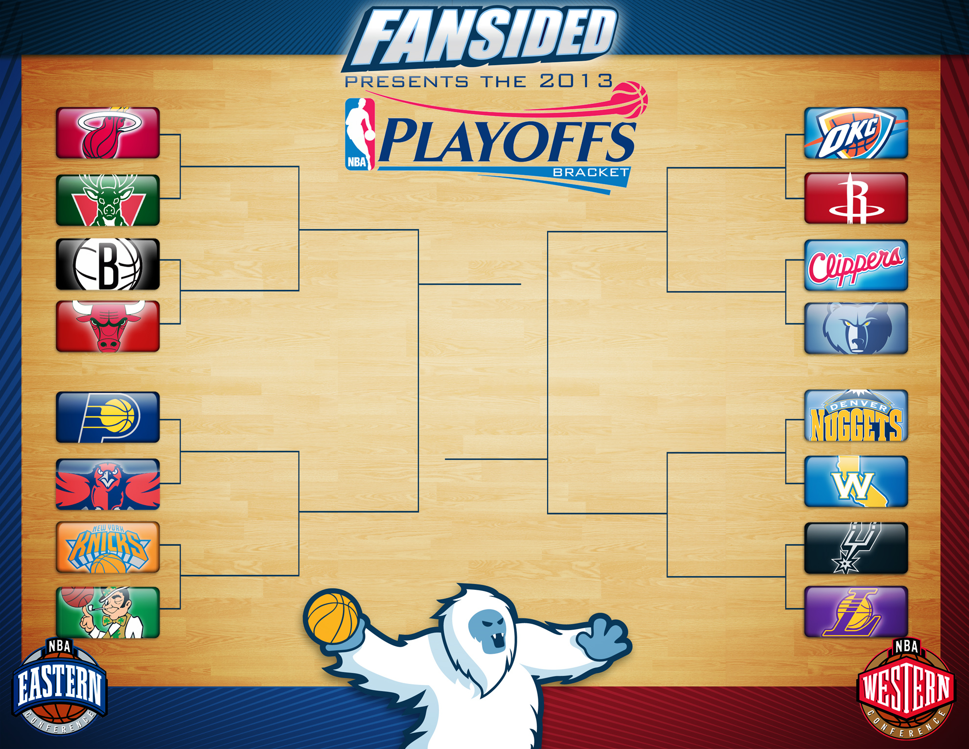 picture relating to Nba Printable Bracket named Printable NBA Playoffs Bracket 2013