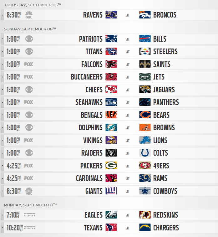 Nfl Calendario.2013 Nfl Regular Season Schedule Released