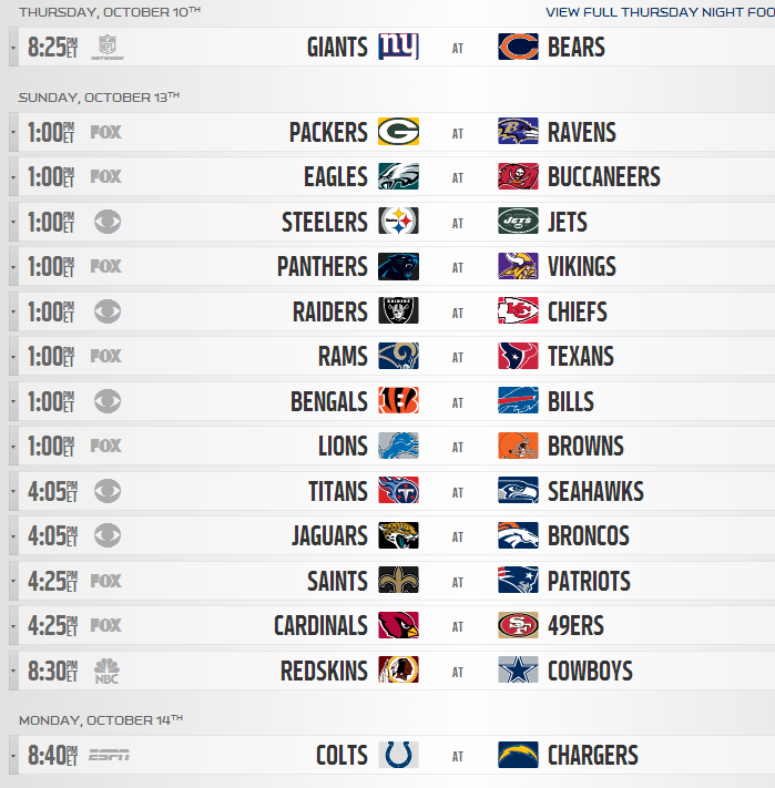 photograph relating to Nfl Week 6 Printable Schedule named 2013 NFL Every month Time Plan Introduced