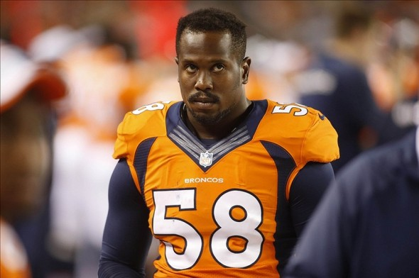 Aug 24, 2013; Denver, CO, USA; Denver Broncos linebacker Von Miller (58) during the second half against the St. Louis Rams at Sports Authority Field at Mile High. The Broncos won 27-26. Mandatory Credit: Chris Humphreys-USA TODAY Sports
