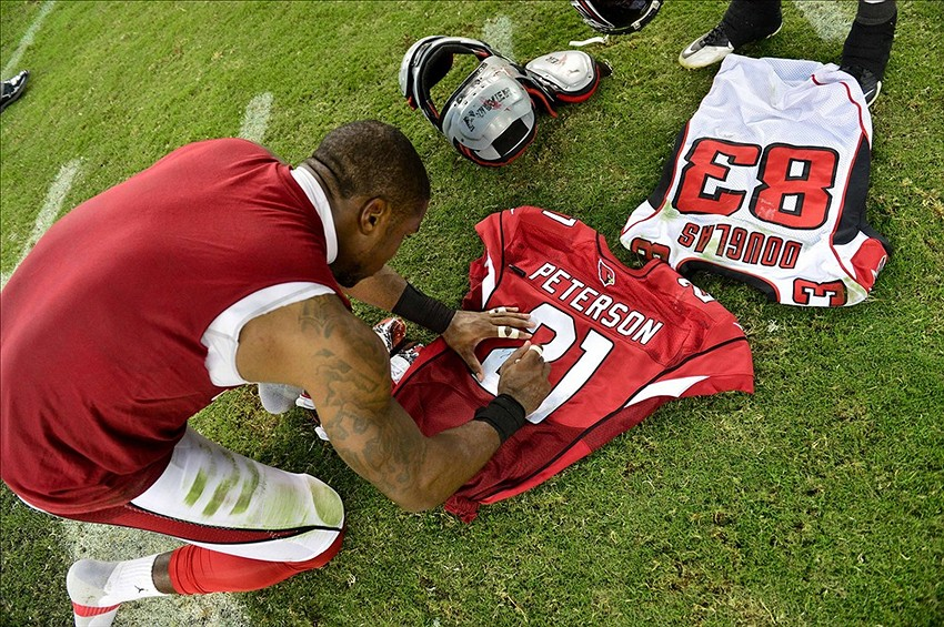 new style 2299c 6cb82 Patrick Peterson, Harry Douglas exchange jerseys after ...