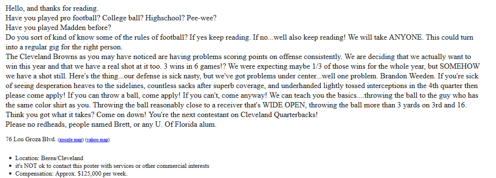 Fan posts help wanted ad on Craigslist looking for a Cleveland
