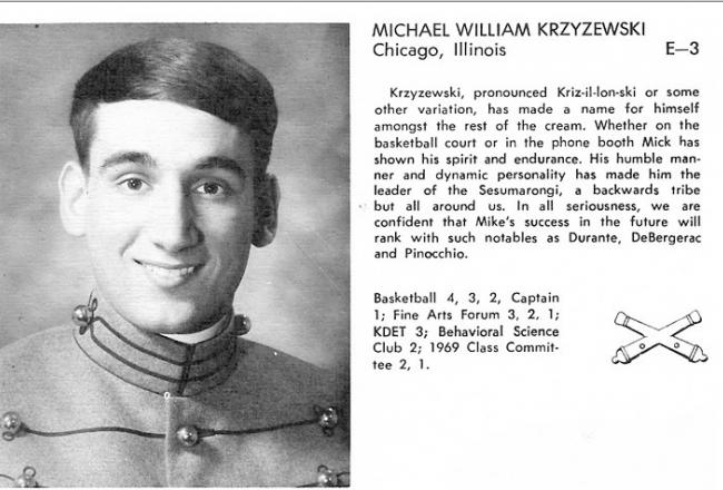Mike Krzyzewski Yearbook Picture From West Point Photo