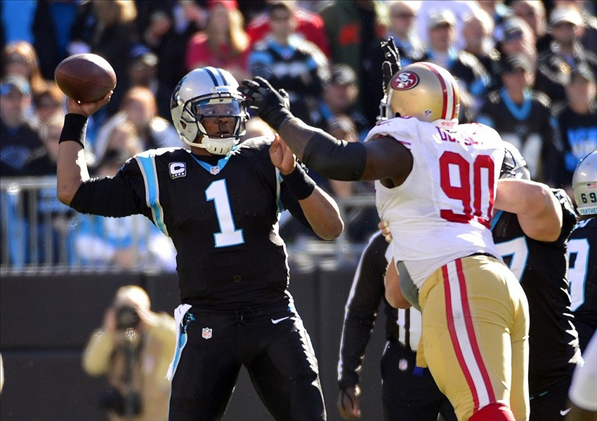 Panthers QB Cam Newton s head snaps back on helmet-to-helmet hit (GIF) ba285366a