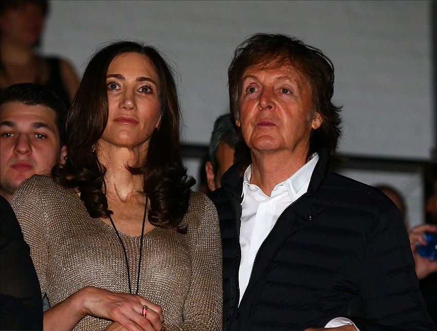 Feb 1 2014 New York NY USA Paul McCartney Right And Fiance Nancy Shevell During The Revolt Party At Time Warner Cable Studios