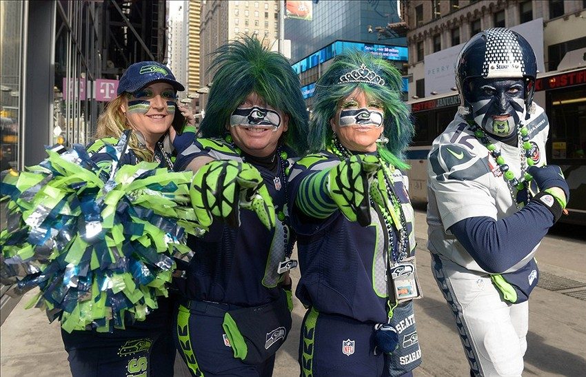 5f0c2f5752a Super Bowl 2014  Seahawks fan wears outfit made almost entirely out ...