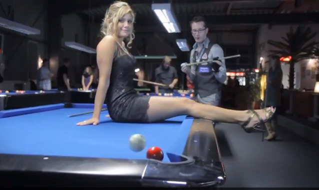 Amazing pool trick shots around woman on table video - Awesome swimming pool trick shots ...