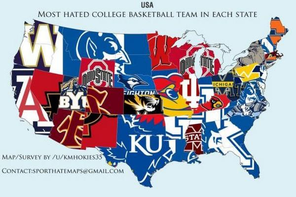 Reddit Map Shows The Most Hated College Basketball Programs In The - Us map by best schools