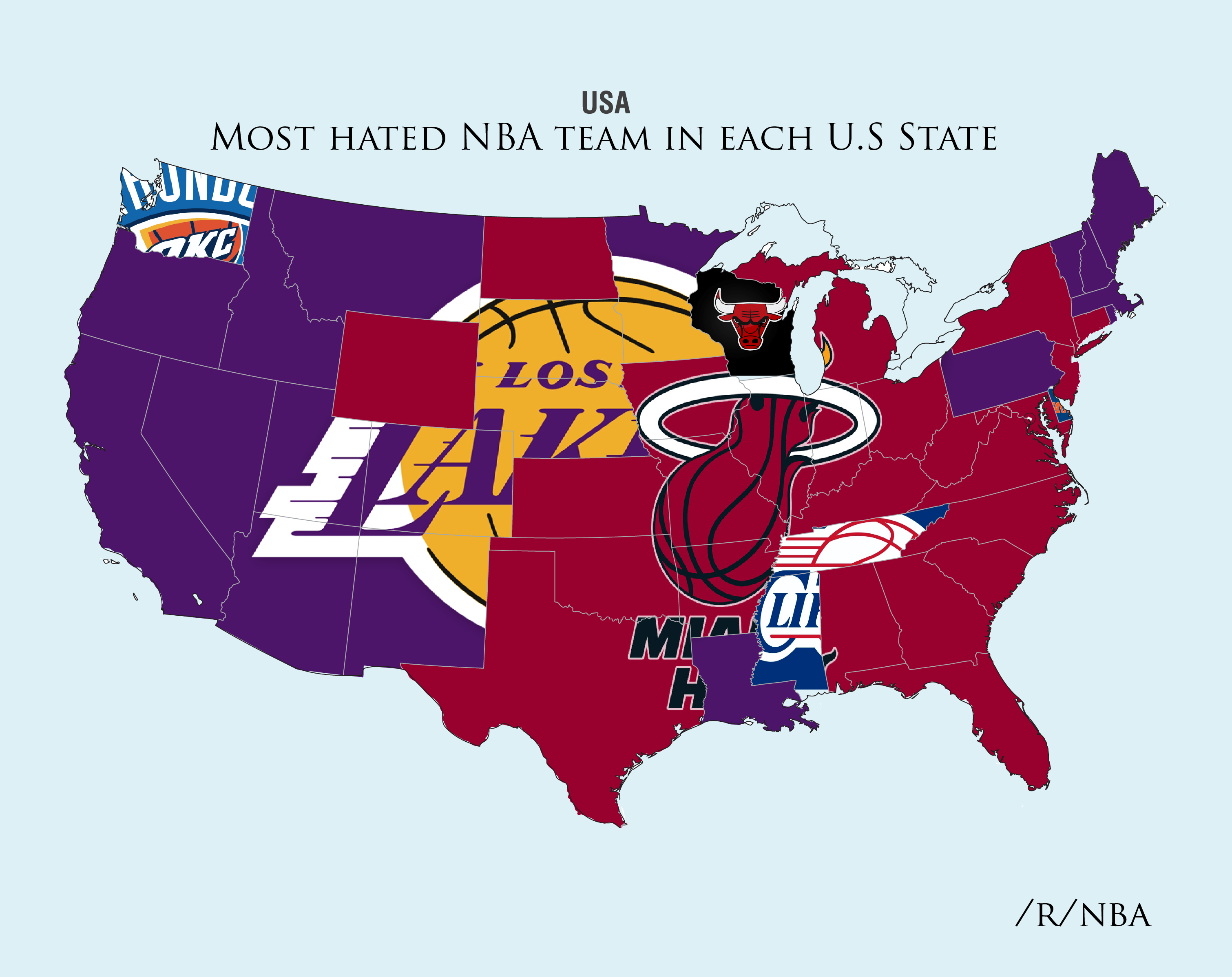 Reddit Survey Shows The Most Hated NBA Teams In The United States - Us map nba teams