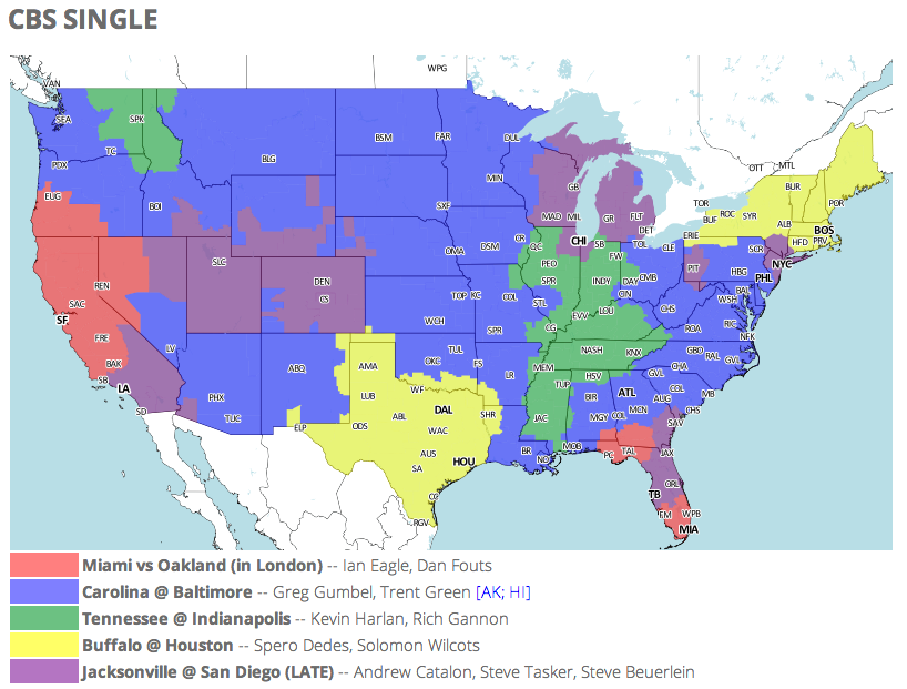 NFL TV Schedule and Coverage Map Week 4 Cbs Nfl Coverage Map on