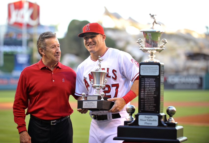 Mike Trout with his Awards