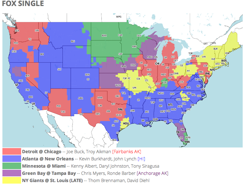 ebbee57b NFL TV Schedule and Coverage Map Week 16