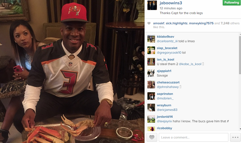 Jameis Winston posts picture in Buccaneers jersey with crab legs (Photo) 7438d79b089