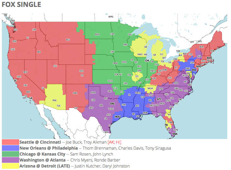NFL TV schedule and coverage map: Week 5
