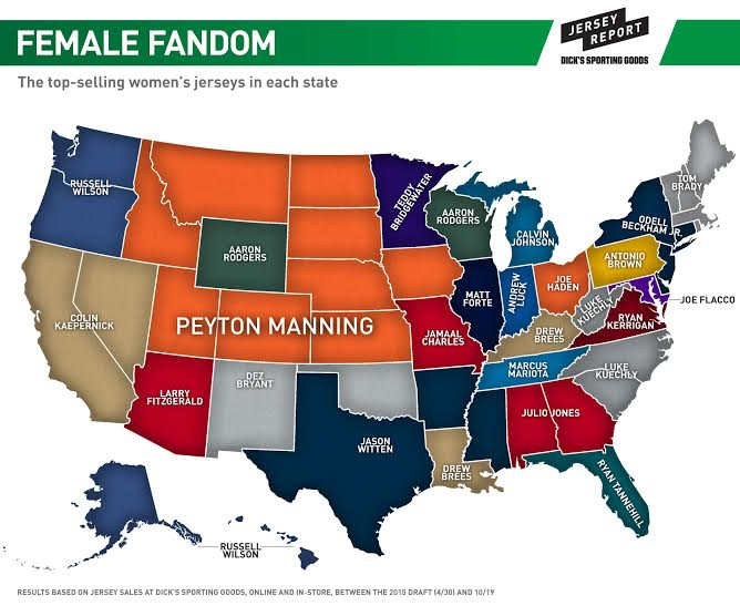 buy popular a491b fad97 Peyton Manning jersey sales appear to be a hit with females ...