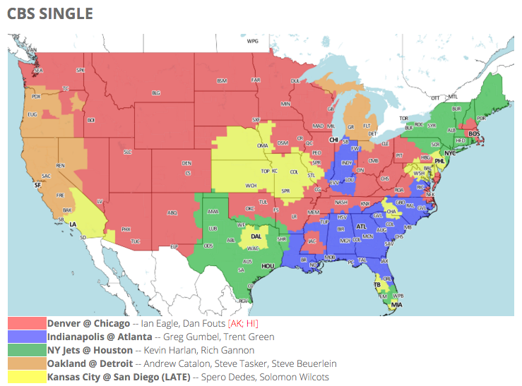 acd57bdb NFL TV schedule and coverage map: Week 11