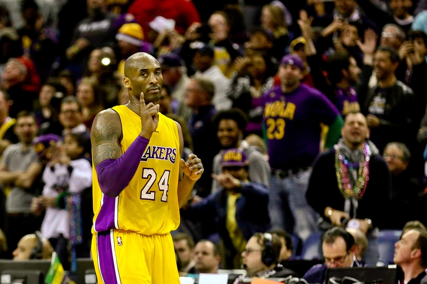 e16faee41d8 Los Angeles Lakers forward Kobe Bryant (24) gestures after scoring against  the New Orleans Pelicans during the fourth quarter of a game at the  Smoothie King ...