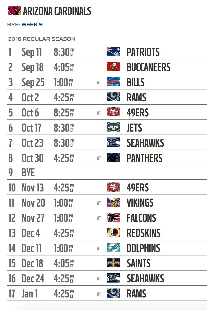 arizona cardinals' 2016 nfl schedule released