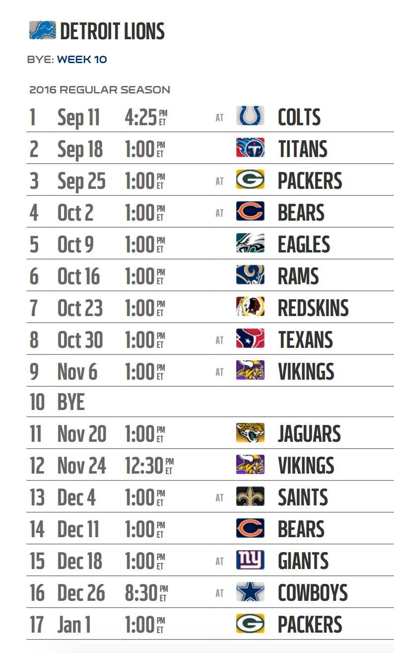 photo relating to Detroit Lions Printable Schedule titled Detroit Lions 2016 NFL program unveiled
