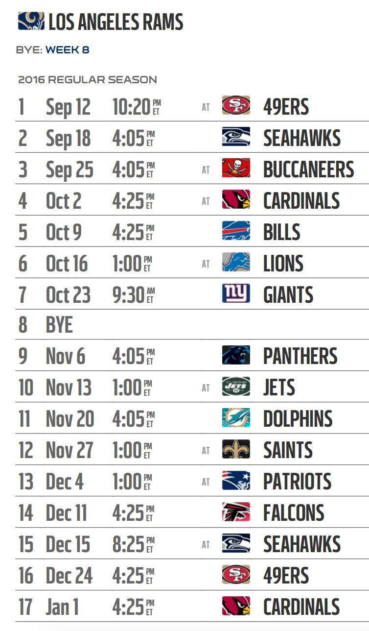 photograph relating to 49ers Schedule Printable identified as Los Angeles Rams 2016 NFL routine produced