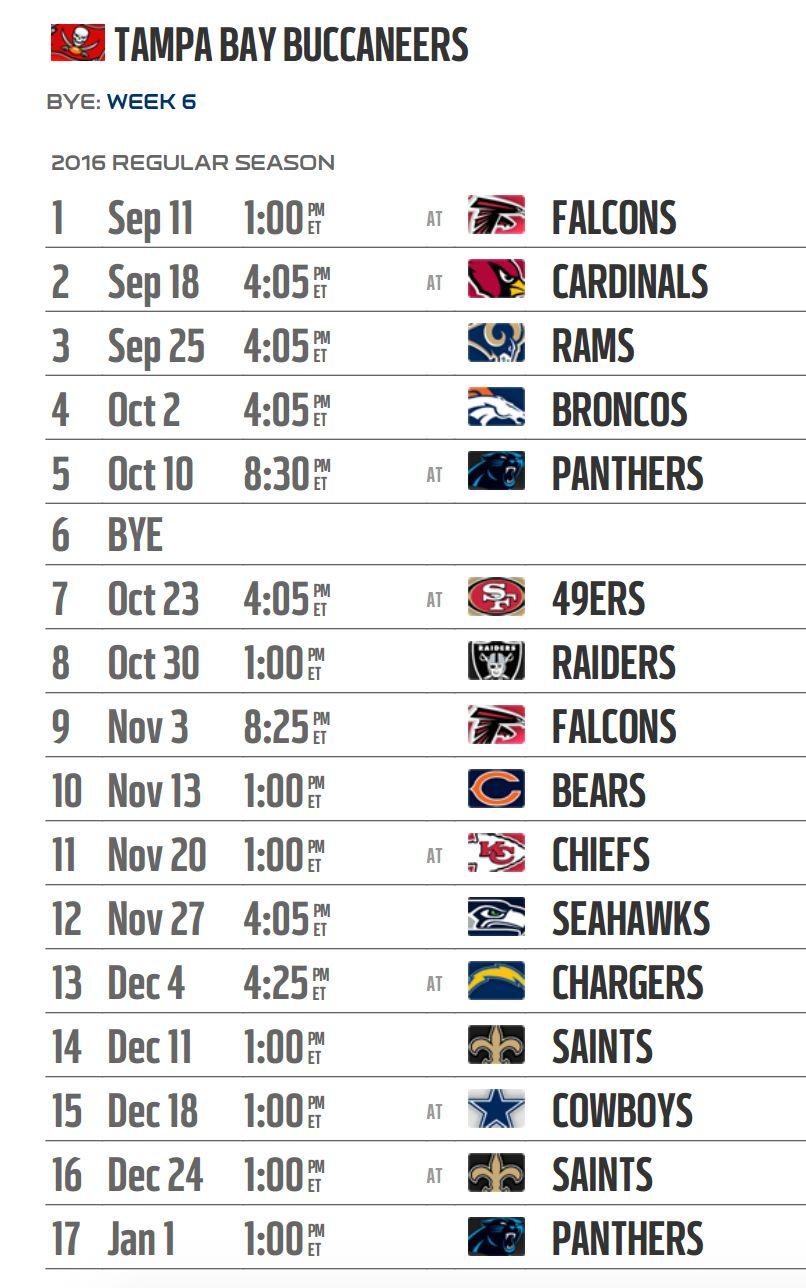 88c7210a Tampa Bay Buccaneers' 2016 NFL schedule released