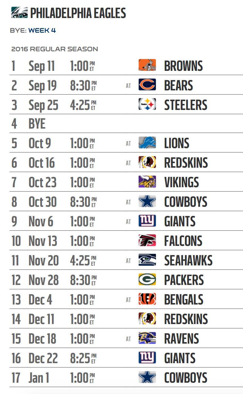 Eagles 2016 Schedule