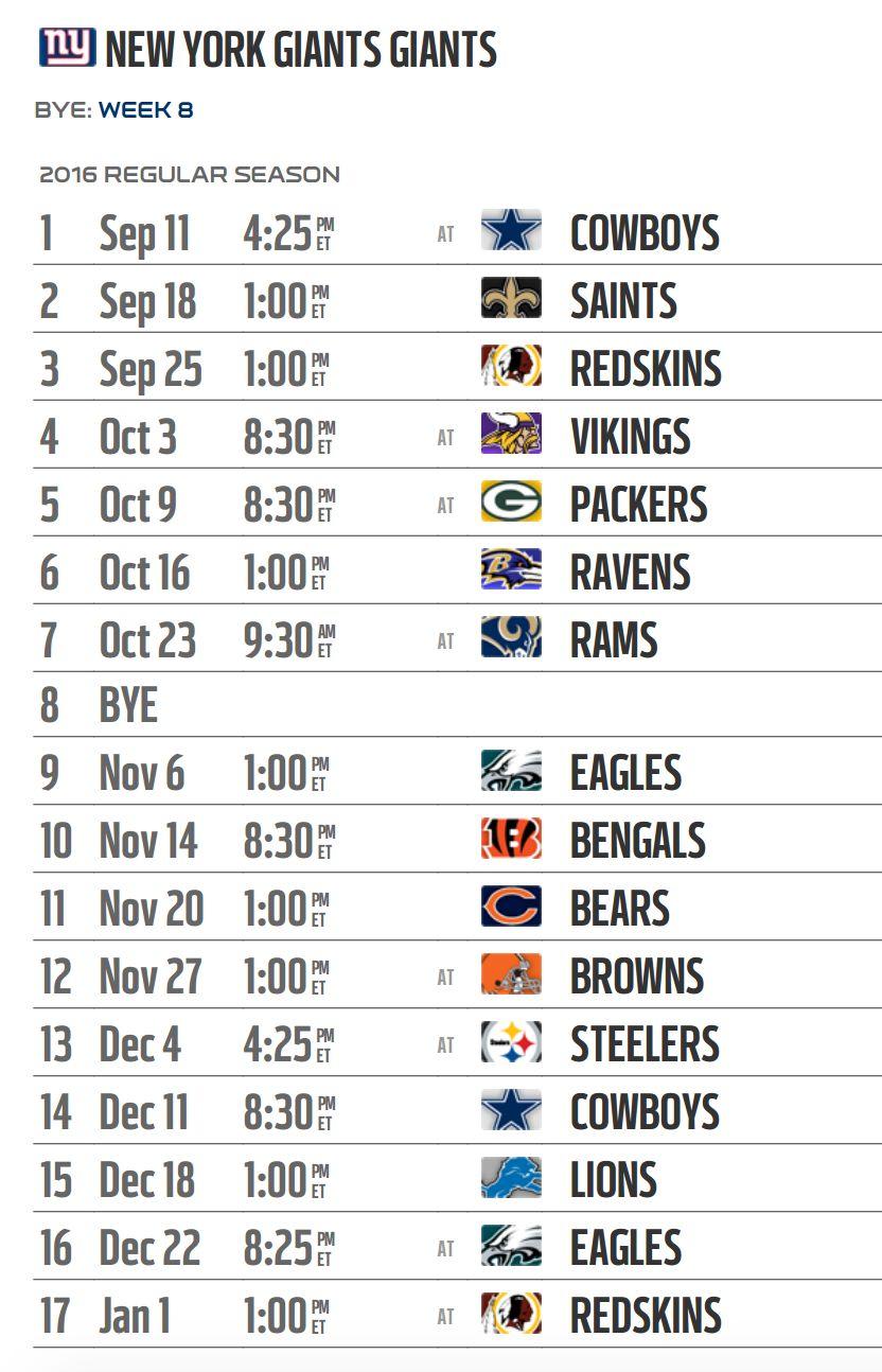new york giants' 2016 nfl schedule released