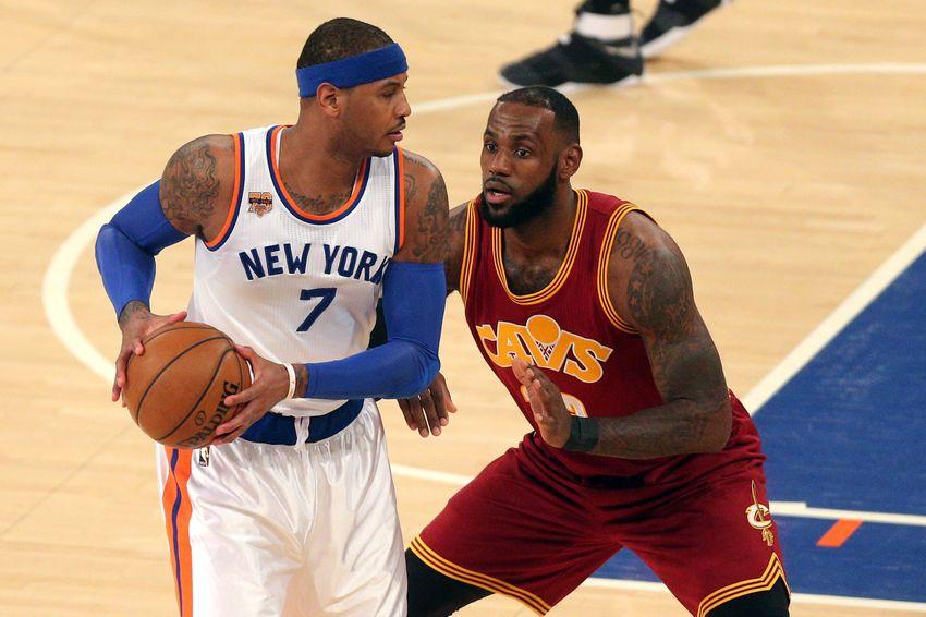 big sale 5a368 78c9a Dec 7, 2016  New York, NY, USA  New York Knicks small forward Carmelo  Anthony (7) controls the ball against Cleveland Cavaliers small forward  LeBron James ...