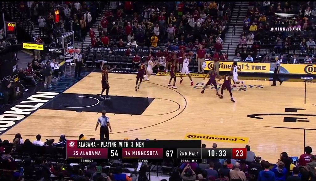 Alabama plays 3-on-5 after entire bench gets ejected against Minnesota