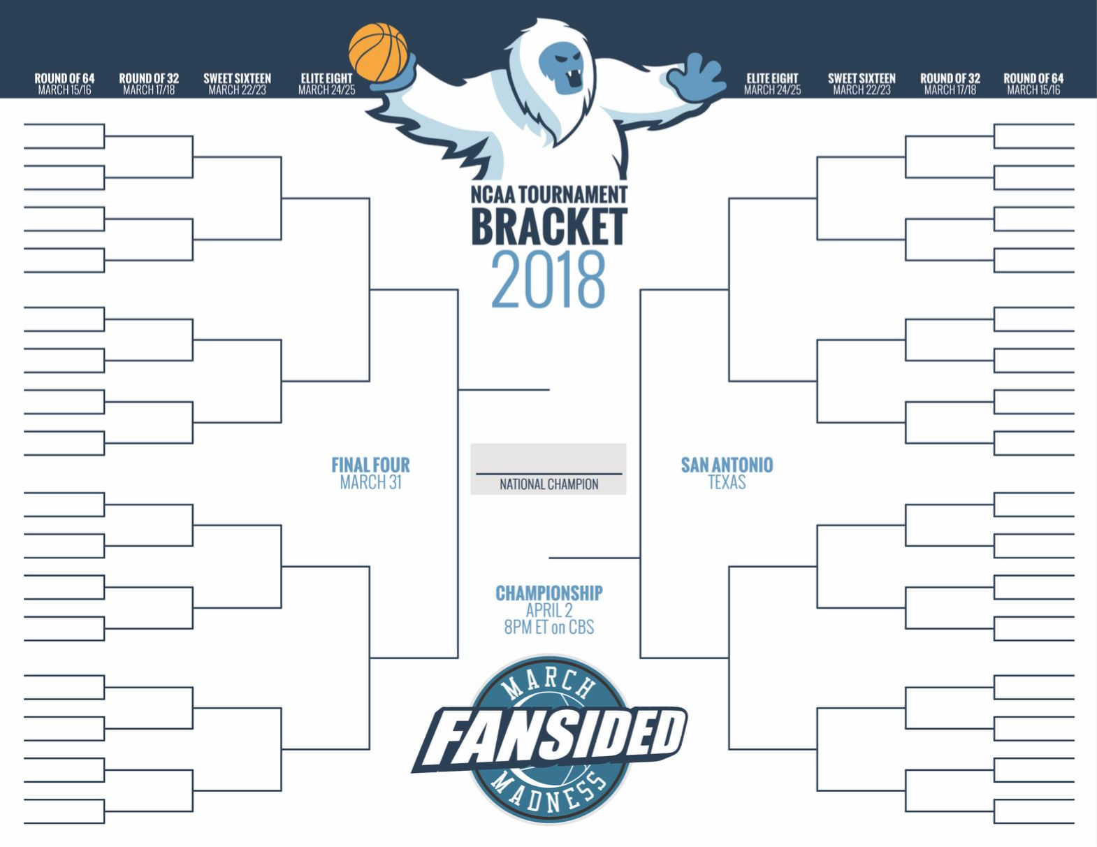 NCAA Tournament 2018: Blank printable March Madness bracket