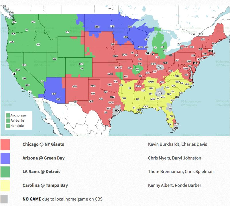 NFL coverage map 2018: TV schedule Week 13 on