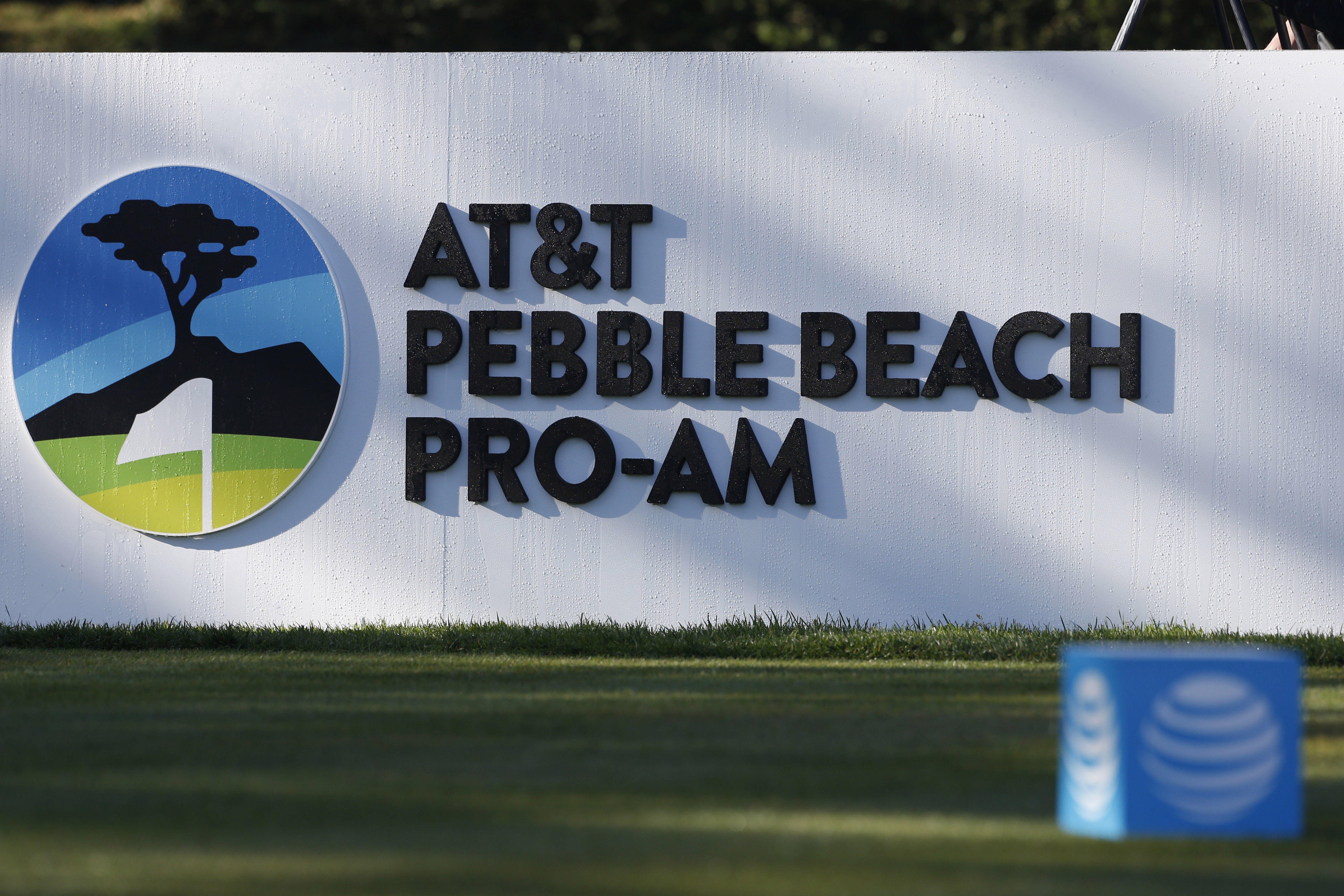 2016 Pebble Beach Ca Usa A General View Of Signage Board Behind The First Tee During Final Round At T National Pro Am